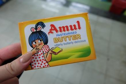 Die geilste Butter! Uebrigens immer gesalzen...40 Rs (0,53 Euro)